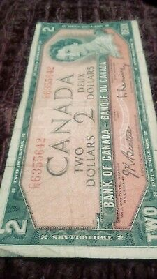 1954 Canada Devil Face Two 2 Dollars HB Series CR 6355642
