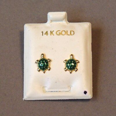 VINTAGE 14K YELLOW GOLD and ENAMEL TURTLE DESIGN STUD EARRINGS NEW ON CARD L@@K!