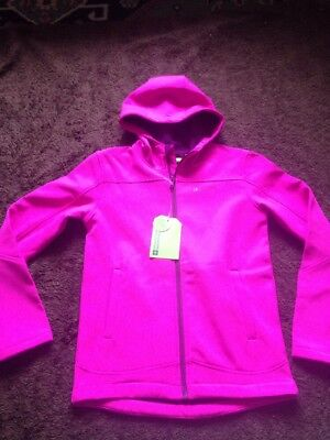 BNWT Girls Age 9-10 Years Pink Soft Shell Hooded Coat