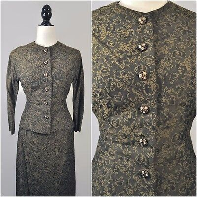 VTG 50s Brocade Pin Up Jacket Pencil Skirt Dress Set Wiggle Button Up XS Small