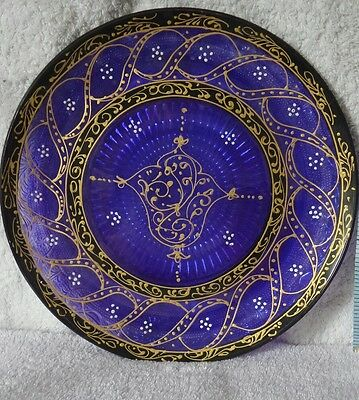 Purple pressed glass plate. lovely colour.
