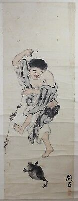 Old Chinese Scroll Watercolor On Paper Painting Of Liu Hai And A Toad