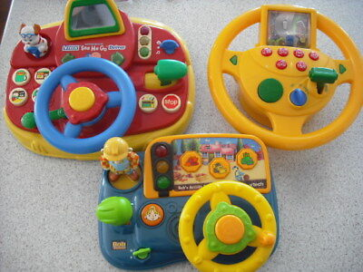 3 Driving Toys Bob The Builder Vtech Steering Wheels Kids Toy Sound Music