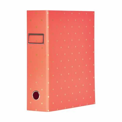 Otto A4 Lever Arch File 70mm Foil Tangerine Polka Dot