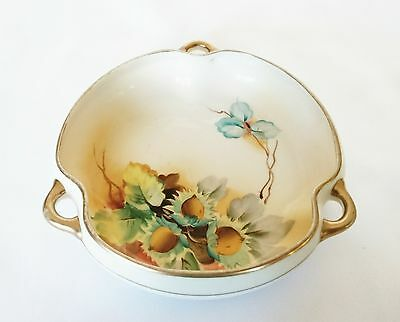 Nippon Hand Painted Dish with Gold Accent Handles