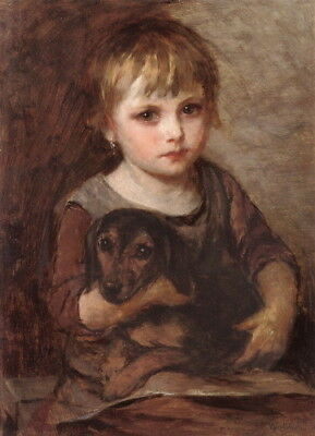 c1870 Art~Pensive Young Girl Holds Dachshund Puppy Dog on Lap NEW Lge Note Cards