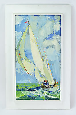 Vintage 1960's Roy Andersen Impressionist Impasto Oil Painting Sailboat Underway