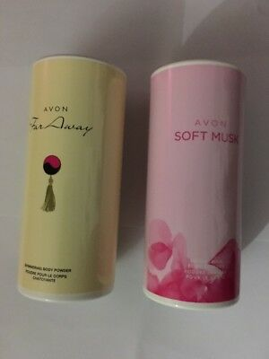 Avon Far Away And Soft Musk Shimmering Powder/Talc Set New 40g