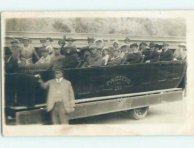 c1910 rppc TOURISTS ON VERY OLD OPEN AIR TOUR BUS Portland Oregon OR HM3039