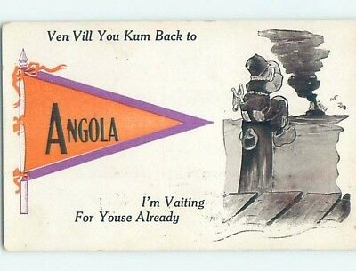 Divided-Back COMIC POSTCARD Angola Indiana IN HM4766