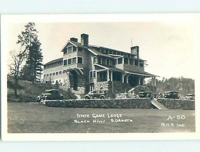 1930's rppc OLD CARS AT STATE GAME LODGE Custer South Dakota SD HM3389