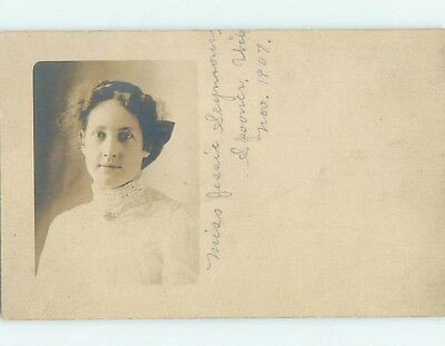 1907 rppc MISS JESSIE SEYMOUR SHOWN Marked Spooner Wisconsin WI HM3089
