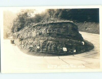Pre-1942 rppc OLD CAR AT HAIRPIN TURN ON ROAD Macomber West Virginia WV HM3410