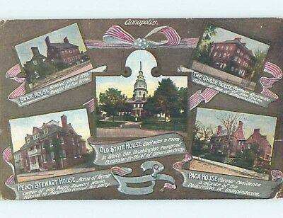Divided-Back Patriotic FIVE VIEWS ON ONE POSTCARD Annapolis Maryland MD HM7435