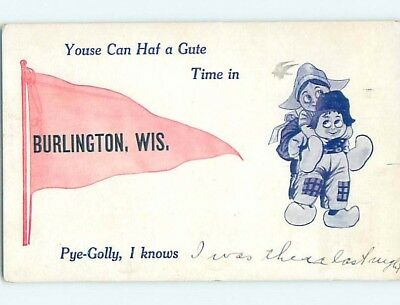 Divided-Back COMIC POSTCARD Burlington Wisconsin WI HM4777