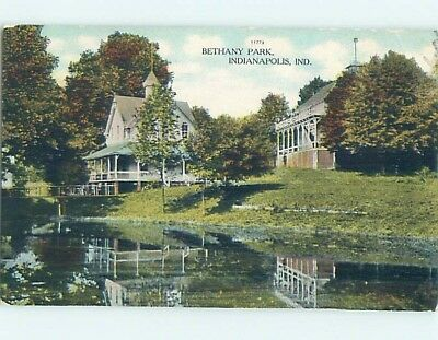 Unused Divided-Back PARK SCENE Indianapolis Indiana IN hk8813