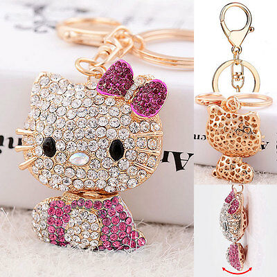 Pink Hello Kitty Key Chain Crystal 3D Ring Car Purse Cover Wallet Bag Decor Gift