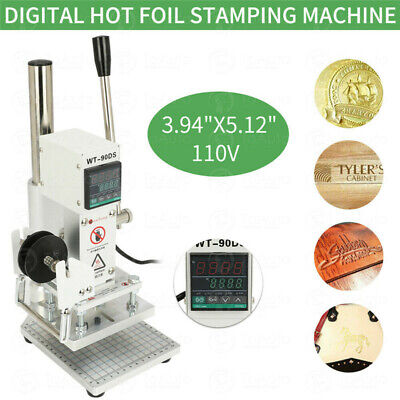 Hot Foil Stamping Machine Bronzing Craft Leather PVC Logo Press Embossing 220V
