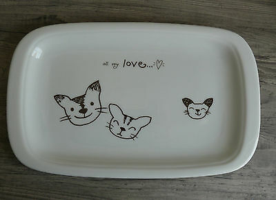 """Happy Cats Platter Catchall Serving """"all my love"""" Made in Japan Kittens Plate"""