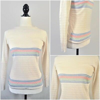 VTG 80s Rainbow Striped Pastel Grunge Thin Knit Pullover Sweater Top XS Small