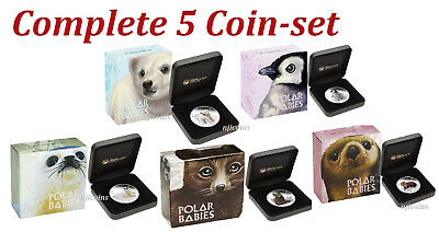 Complete 5-Coin set 2017 Polar Babies 2.5 oz Silver Proof 50c Half Dollar