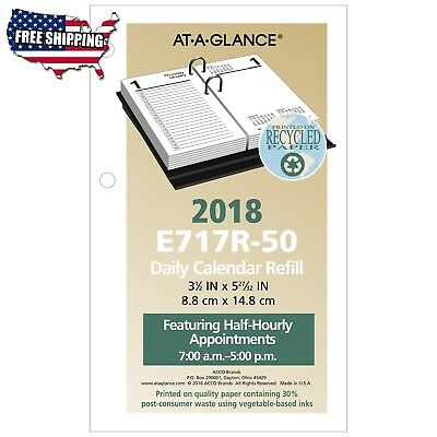 "Daily Desk Calendar Refill, January 2018 - December 2018, 3-1/2"" x AT-A-GLANCE"