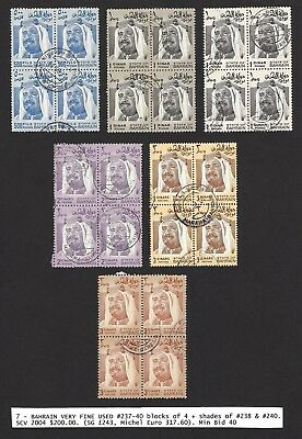 Bahrain 1976 definitives very fine used blocks of 4 incl. shades