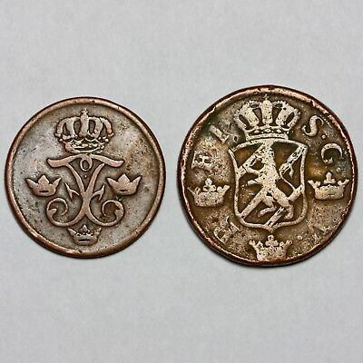 1742 & 1749 Frederick I Sweden Copper 1 One & 2 Two Ore Ör Coins