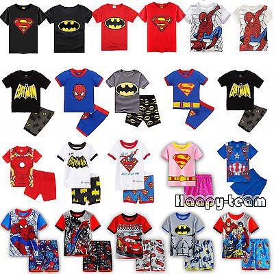 Kids Boys Summer Spiderman T-shirt Top Shorts Set Toddler Nightwear Pyjamas Pj's