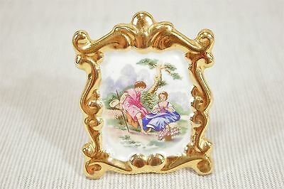 """Limoges Miniature Picture, Courting Couple under Tree, Gold trim .France. 2 3/4"""""""