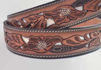 VTG Tooled Ornate Leather Belt Brass Horse Buckle Carved Mens Womens Wild Rose