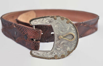 VTG 70s Lizard Leather Belt Ornate Carved Buckle Mens Womens Rodeo Western 32