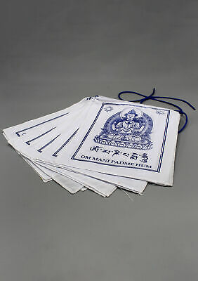 Tibetan Chenrezig White Prayer Flags, Avalokiteswora Premium Flags
