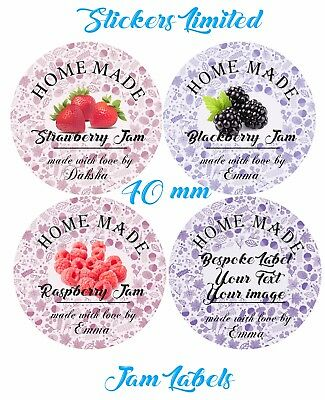 48 - 40 mm -  Personalised Mini Jam Labels for HOMEMADE PRESERVES CONSERVE JAMS