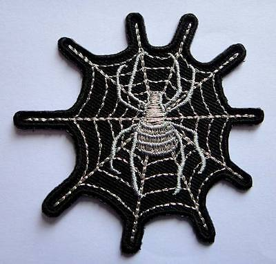 BEAUTIFUL SILVER WIDOW SPIDER WEB Embroidered Iron on Patch Free Shipping