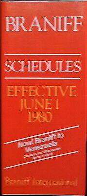 Braniff System Timetable June 1, 1980