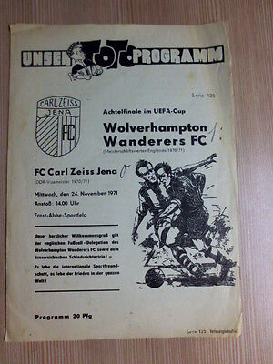 1971-72 FC Carl Zeiss Jena - Wolverhampton Wanderers UEFA / FAIRS Cup Wolves