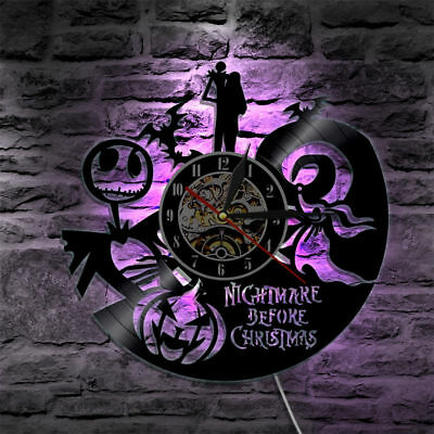 Vinyl Wall Art The Nightmare Before Christmas Jack and Sally LED Back Lamp Clock