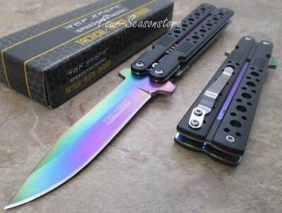 Tac-Force Spring Assisted Mock Butterfly Rainbow Blade Black Handle Knife New CS