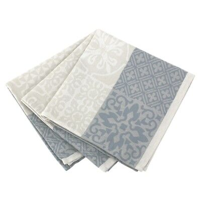 Lot 3 serviettes de table 45x45 Jacquard 100% coton sans enduction MOSAIC PERLE