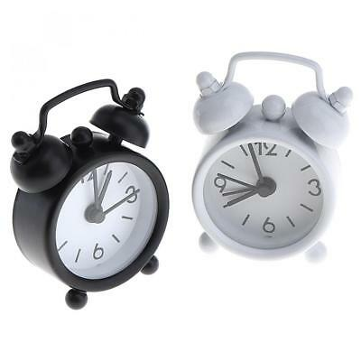 40mm Mini Home Outdoor Cute Small Round Desk Alarm Clock with Button Battety