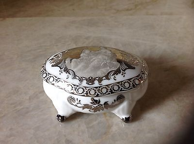 Limoges trinket box white with silver guild marked
