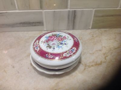 Beautiful T. Limoges Trinket Box and plate with hand painted floral and gilded