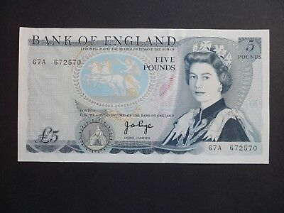 "FIRST SERIES -  BANK OF ENGLAND  £5 POUND NOTE -  J.B.PAGE  "" single note only """