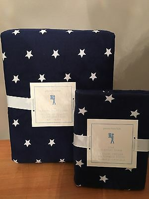 NEW Pottery Barn Kids Navy / Blue Star Duvet Cover TWIN with Standard Sham