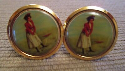 Rare Vintage Victorian Lady Golfer Magnetic Pierced Earrings