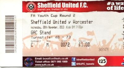 (B9) Sheffield United v Worcester City 20/11/13 FA Youth Cup 2nd Round Ticket