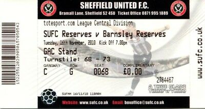 (B9) Sheffield United v Barnsley 16/11/10 Reserves Ticket