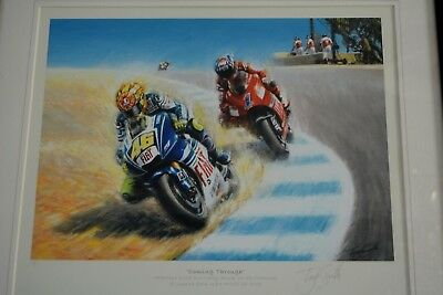 Graphite Signed Limited Edition Print, Tony Smith Coming Through Valentino Rossi