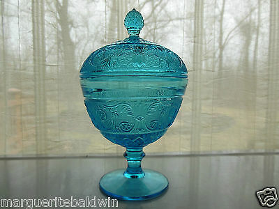 Duncan & Miller Indiana Glass Blue Sandwich Ftd Candy Box Dish Compote & Cover